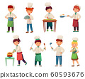 Cartoon children cooks. Little chief cook, child cooking food and young kitchen chiefs vector illustration set 60593676
