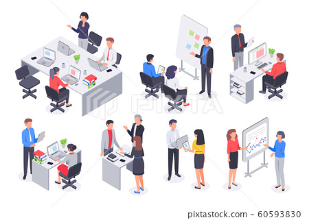 Isometric business office team. Corporate teamwork meeting, employee workplace and people work 3D vector illustration set 60593830