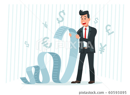 Pay big bill. Businessman holding long bill, shocked by payment amount and paying finance bills cartoon vector 60593895