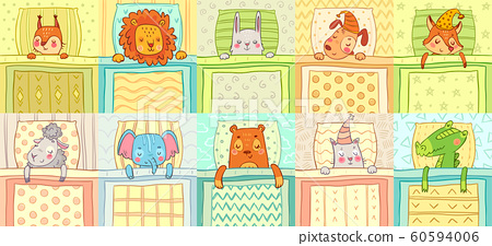 Sleeping animals. Cute animal night sleep in bed, funny dog on pillow and cat in nightcap cartoon vector illustration set