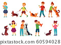 Kids playing with dogs. Child feeding dog, pet animals care and kid walking with cute puppy cartoon vector illustration set 60594028