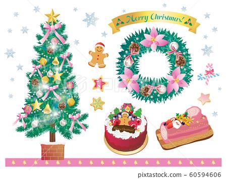 크리스마스 트리와리스와 케이크 세트 핑크 60594606