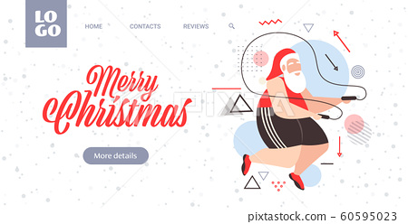 fat santa claus doing exercises with jumping rope overweight bearded man training workout weight loss concept christmas new year holidays celebration greeting card horizontal 60595023