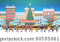 christmas market or holiday outdoor fair with decorated fir tree mix race people walking near stalls merry xmas new year winter holidays celebration concept modern cityscape background horizontal 60595061