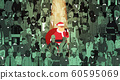 santa claus with big sack standing out from people crowd merry christmas happy new year holidays celebration individuality concept flat horizontal 60595069