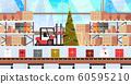 gift present boxes factory on conveyor belt production process modern warehouse interior christmas holidays celebration concept horizontal 60595210
