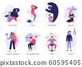 Psychiatric illness. Mental disorder, paranoia feeling and panic problem. Psychic illnesses and disorders vector illustration set 60595405