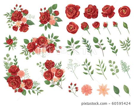 Red floral bouquet. Burgundy rose flower, vintage roses bouquets and spring flowers vector illustration set 60595424