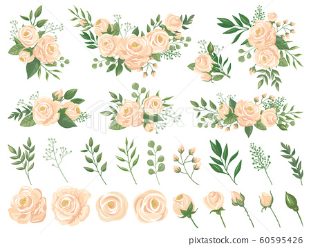 Floral bouquet. Rose flowers, gardening roses bouquets and pastel colors flower buds with petals cartoon vector illustration set 60595426