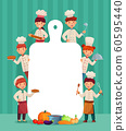 Kids menu frame. Children chefs cook with cutting board, restaurant chef and chopping food cartoon vector illustration 60595440
