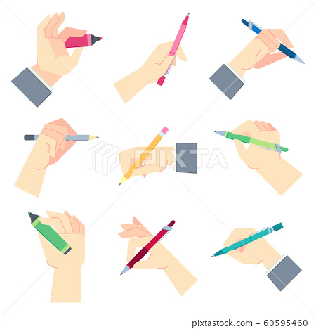 Writing accessories in hands. Pen in businessman hand, write on paper sheet or notepad and hands gestures vector illustration set 60595460