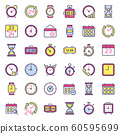 Time icons. Alarm clock, hourglass timer and deadline watch. Colorful 24 hours clocks flat icon isolated vector set 60595699