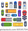 Top view public transport. Taxi car, city buses and ambulance vehicle. Delivery truck, school bus and fire engine vector set 60595704
