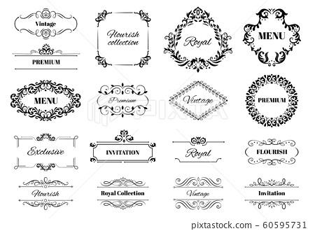 Decoration ornament frame. Vintage calligraphic motif ornate text, ornamental frames and decorative borders vector illustration set 60595731