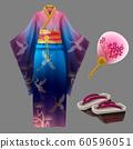 Japanese woman kimono geisha dress, yukata geta 60596051