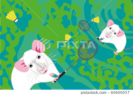 New Year's card material for sports fans of rats and badminton 60600057