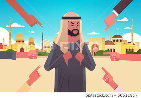 depressed arab man being bullied surrounded by hands fingers mocking him peer violence bullying social anxiety concept muslim cityscape background flat portrait horizontal 60611857
