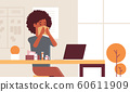 sick businesswoman blowing nose with handkerchief african american girl sitting at workplace using laptop woman having flu sneeze illness concept modern office interior portrait horizontal 60611909