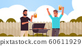 guys couple preparing meat on grill african american men drinking beer outdoor friends having fun backyard picnic barbecue party concept flat portrait horizontal 60611929