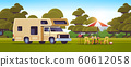 outdoor grill with picnic table and camping trailer summer barbecue party campsite landscape background flat horizontal 60612058
