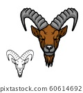 Head of goat or ibex with ridged horns and beard 60614692