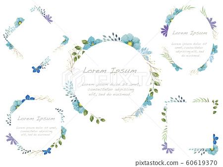水彩風格花卉框架集 60619370