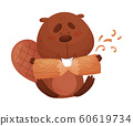 Funny Beaver Gnawing Log with His Front Teeth Vector Illustration 60619734