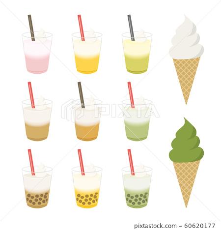 冰飲料和軟冰淇淋插圖集 60620177