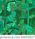 Jungle plants seamless pattern. Exotic tropical palm leaves, flowers, vines, fern. Rain forest 60620927