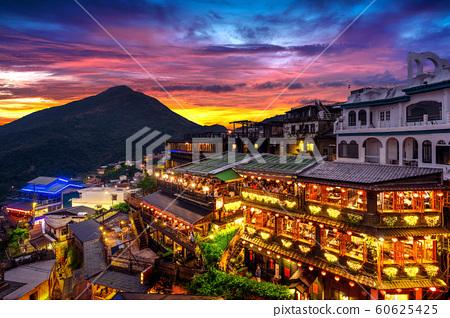 Jiufen old street at twilight in Taipei Taiwan. 60625425