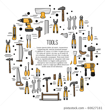 Tools card concept. repairing illustration in flat style for design and web.
