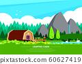 Camping cabin banner design, flat style illustration 60627419