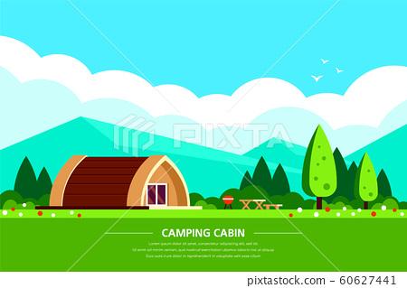 Camping cabin banner design, flat style illustration 60627441