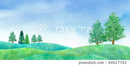 新鮮的綠色平原和藍天風景,水彩插圖 60627762