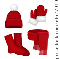 Winter clothes. Scarf mittens stocking snow hat with fur season fashion red christmas clothes vector realistic template 60627919
