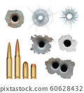 Bullets realistic. Damaged cracked gun holes surfaces and bullets different caliber armor rifles vector collection 60628432