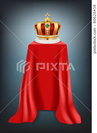 Exhibition crown. Podium covered with red silk textile luxury crown with jewelry presentation showcase vector realistic 60628456