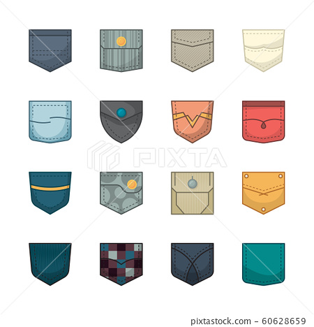 Colored pockets. Patches and fabric pockets for clothes bags shirt denim jackets vector collection 60628659