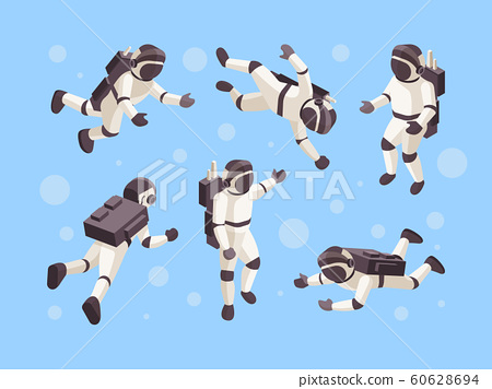 Astronaut isometric. Cosmo space futuristic human in special clothes vector astronaut in different poses 60628694