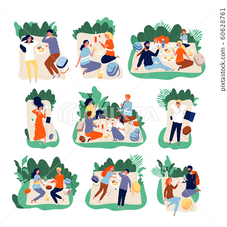 Picnic friends. People eating in park healthy happy family outdoor vector characters illustrations 60628761