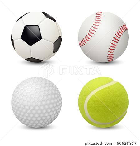 Sport balls. Baseball football tennis golf vector realistic sport equipment 60628857