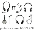 Headset realistic. Earbuds music modern equipment wireless headset vector collection 60628928