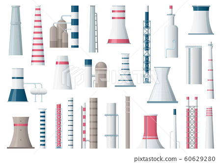 Factory building. Manufacturing pipe pollution industrial factory large construction vector cartoon illustrations 60629280
