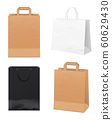 Paper bags. Empty store packages white black and craft paper merchandising identity bags vector realistic mockup 60629430