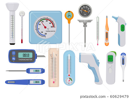 Thermometers. Hospital medical temperature measure high and low various indicators vector measure counters 60629479
