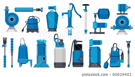 Water pumps. Iron electric motor systems pumps industrial pumping water or oil tanks vector pictures 60629481