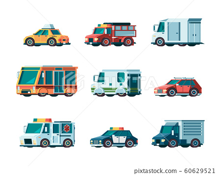 Flat cars. City traffic municipal vehicle fire ambulance police post office taxi truck bus and collector car vector orthogonal pictures 60629521