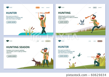 Hunting web pages. Hunter with gun, dog, ducks vector banners 60629834