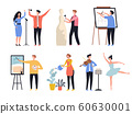 Creative profession. Hobby artists painters sculptors decorators creative workers vector characters 60630001