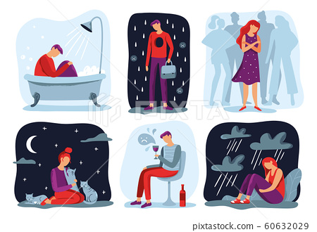 Feel loneliness. Feeling lonely, sad depressive person and social isolation vector illustration set 60632029